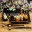 Tenmoku Black Japanese Dinner Plate Set