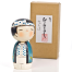 Lucky Boy Cute Wooden Kokeshi Doll with box