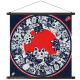 Small Blue and White Cat Furoshiki Japanese Wall Hanging